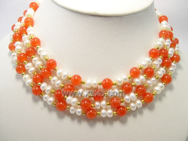Beautiful 4-row Cultured Pearl & Jade Necklace