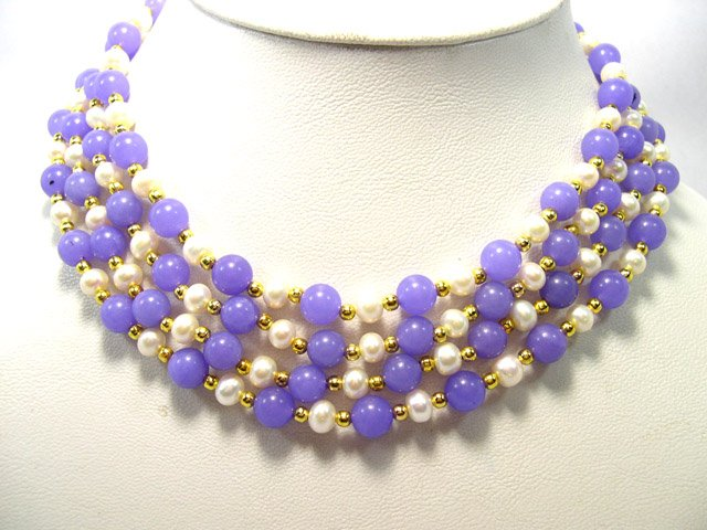 Beautiful 4row Cultured Pearl & Jade Necklace