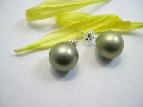 Beautiful peacock Green sea shell PEARL Earring 925s