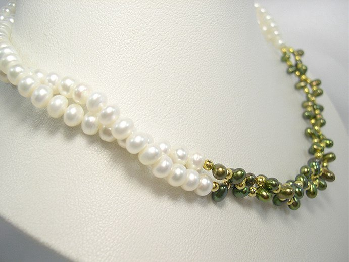 CHARMING 2rows Cultured Pearl Necklace 925s