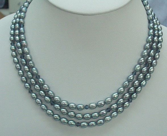 CHARMING 3rows BLUE Cultured Pearl Necklace 925s