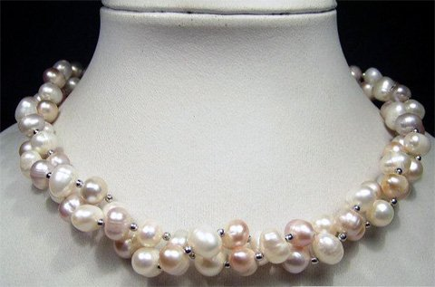 CHarming 2row WHITE lavender cultured pearl necklace