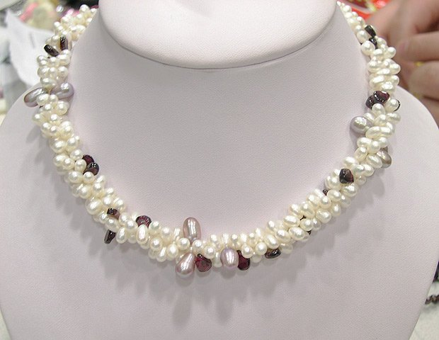 CHarming 3rowS 6-7mm white cultured pearl necklace 925S