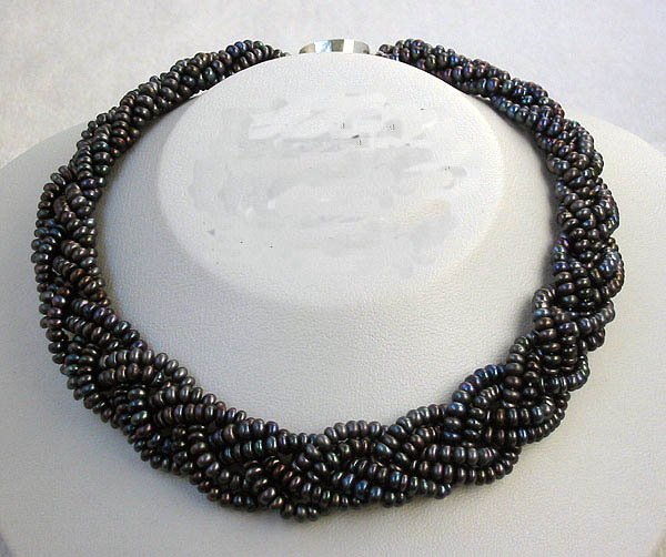 CHarming 6row 4-5mm black cultured pearl weave necklace