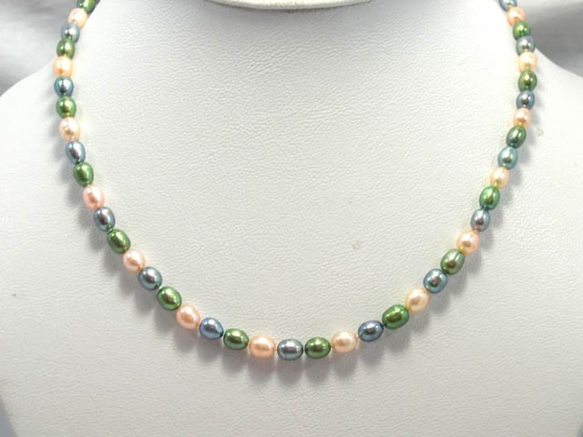 CHarming single row multi-color cultured pearl necklace