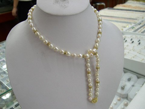 Charming 16'' 6-7 white Cultured Pearl necklace & bracelet