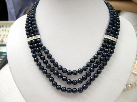 Charming 16''-19'' black 3rows FW cultured pearl Necklace