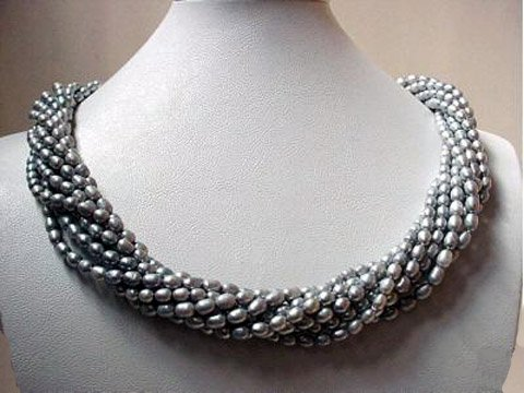 Charming 18'' 8rows silver freshwater pearl necklace