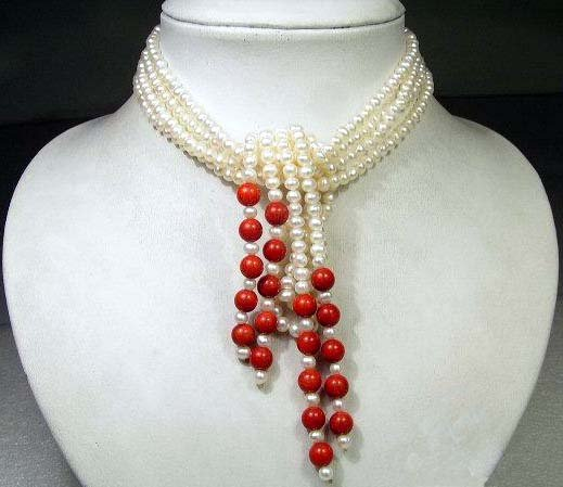 Charming 2row 48'' white Cultured Pearl & coral Necklace