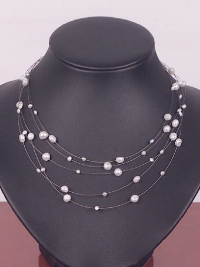 Charming 5rows white Cultured Pearl Necklace