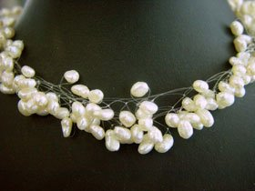 Charming 8rows Fancy style white Cultured Pearl Necklace