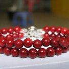 EXCELLENT 2ROWS 8'' RED CORAL BRACELET 925s