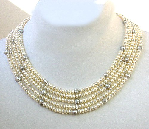 EXcellent 5 strands 16-20'' CULTURED PEARL FW NECKLACE