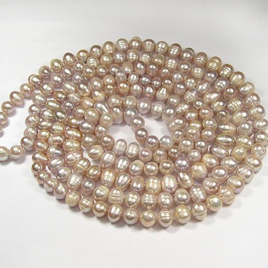 EXcellent 64'' 9-10mm Lavender Cultured Pearl Necklace