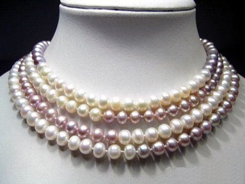 Elegance 64'' white lavender cultured pearls necklace