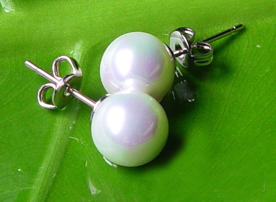 Excelent 10mm white sea shell PEARL Earring 14K