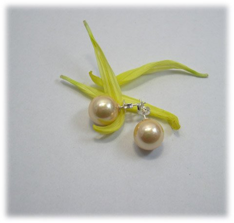 Excelent 10mm yellow sea shell PEARL Earring 925s