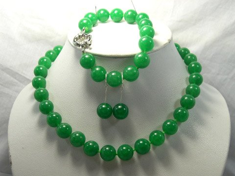 Excellent 12mm green Jade Necklace & bracelet & earring