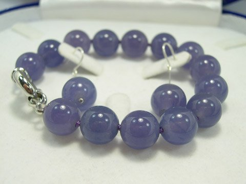 Excellent 12mm dark purple Jade beads bracelet & earring