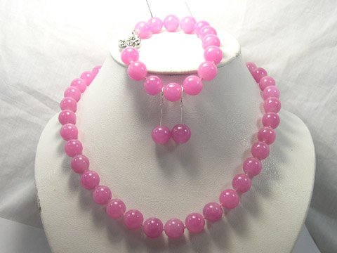 Excellent 12mm peach Jade Necklace & bracelet & earring