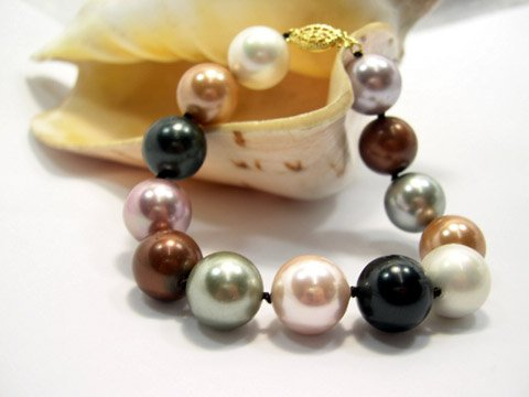 Excellent 14mm multicolor south seashell Pearl bracelet