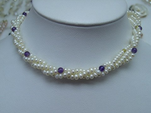 Excelent 18'' 3row 6-7mm White Cultured Pearl Necklace