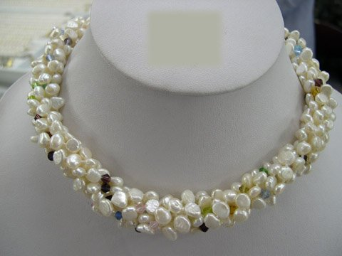 Excelent 18'' 6row white Cultured Pearl & crystal Necklace