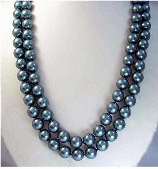 Excelent 2ROWS BLUE SOUTH SEA SHELL Necklace 925S
