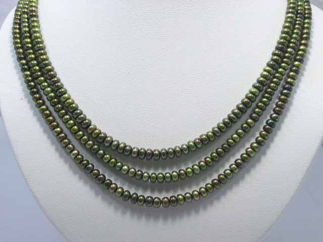 Excelent 3row Green Cultured Pearl NECKLACE & aquamarine