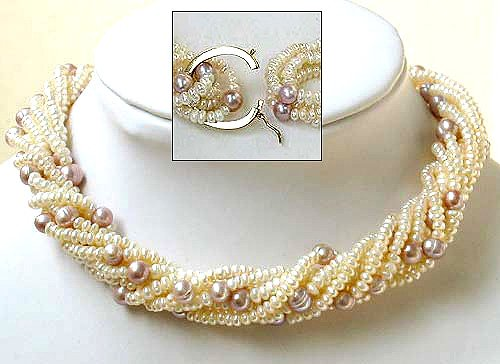 Excelent 8rows white and lavender Cultured Pearl Necklace