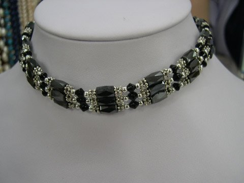 Excellence 15'' 3strand magnet_crystal Necklace