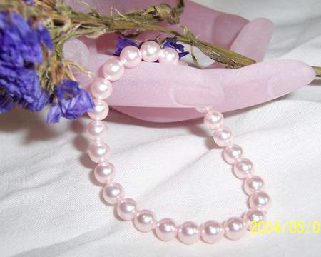 Excellence 8MM PINK SOUTH SEA SHELL PEARL BRACELET