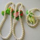 wholesale 2 sets White South Sea Shell Pearl Necklace & Bracelet