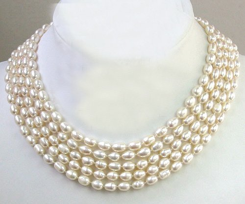 Excellent 5rows WHITE CULTURED PEARL NECKLACE 925S