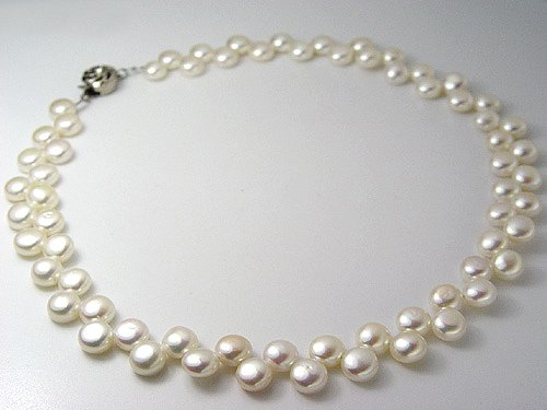 FLOWER 2rows white cultured pearl necklace