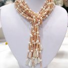 FLOWERY 42'' 6-PCS 2-COLOR FW PEARL Necklaces