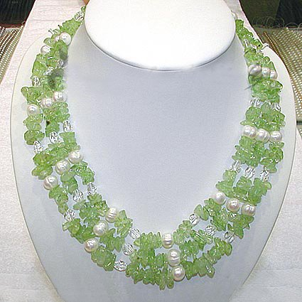 Florid 3ROWS white cultured pearl & olive Necklace