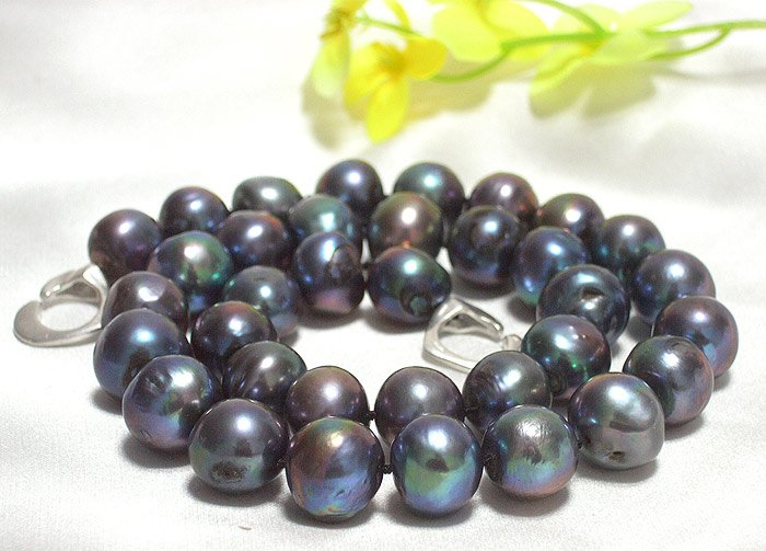 HUGE 11MM-13MM PAVONINE-BLACK PEARL NECKLACE