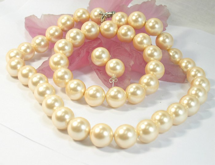 HUGE 14mm south seashell Pearl necklace bracelet & earring