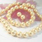 HUGE 14mm south seashell Pearl necklace bracelet & earring