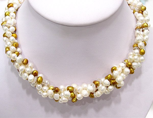 2-PCS 40'' 2-COLOR WHITE GOLD PEARL NECKLACE