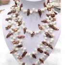 40'' 2-pcs 8-20mm 2-color cultured pearl Necklaces