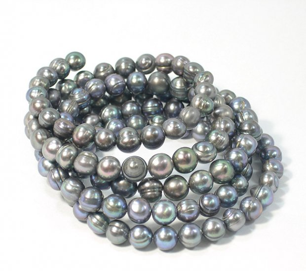 BAROQUE 5ROWS 8-9MM BLACK CULTURED PEARL BRACELET