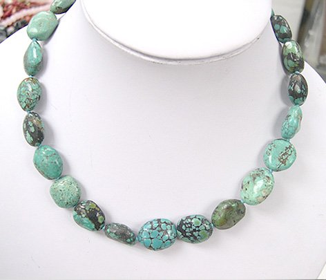 HUGE 17'' 16-20 mm old natural blue turquoise Necklace