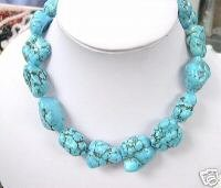 HUGE 17'' 28-35mm blue turquoise Necklace