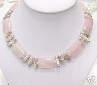 HUGE 17'' strand BIWA cultured pearl & pink jade Necklace