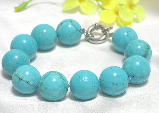HUGE 9'' 17.5mm blue turquoise bracelet