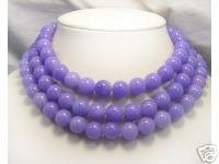 Huge 3row 12mm Purple Jade beads Necklace 925S