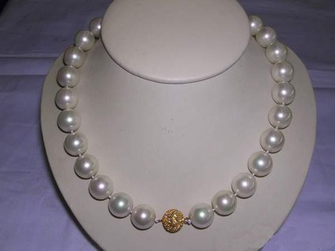 LADIES 16'' 14MM sea shell PEARL NECKLACE