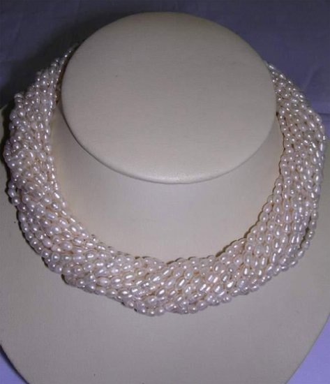 LADIES 18'' 15rows white cultured PEARL FW NECKLACE